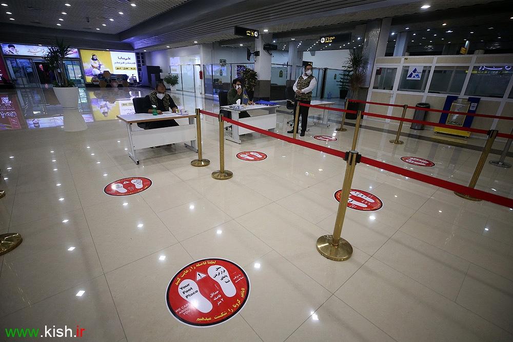 نظارت حداکثری بر رعایت پروتکل های بهداشتی در فرودگاه کیش